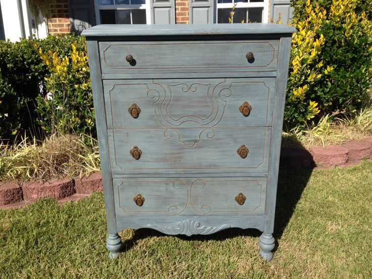 Chic And Shabby Blue Grey Dresser Chest Of Drawers By Vintagerebornlaura On Etsy Https