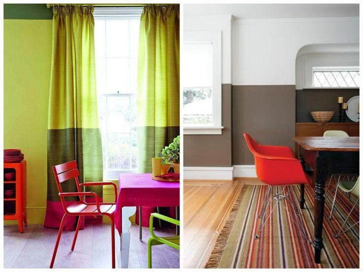 Фото из статьи: Как выкрасить стены по-модному: тренды, примеры и советыХотите зрительно поднять потолок — выберите нейтральные цвета, окрасив нижнюю часть в более тёмный оттенок, а верхнюю в светлый (идеально подойдёт белый цвет). Существуют тёмные и яркие насыщенные цвета, которые дизайнеры стараются не использовать на всей поверхности стены, иначе они будут угнетать и раздражать глаз.  Но если они присутствуют в небольшом количестве и только в нижней части стены, помещение от этого только…