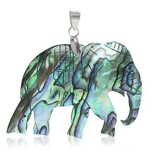 HUGE Abalone/Paua Shell 925 Sterling Silver ELEPHANT Pendant: