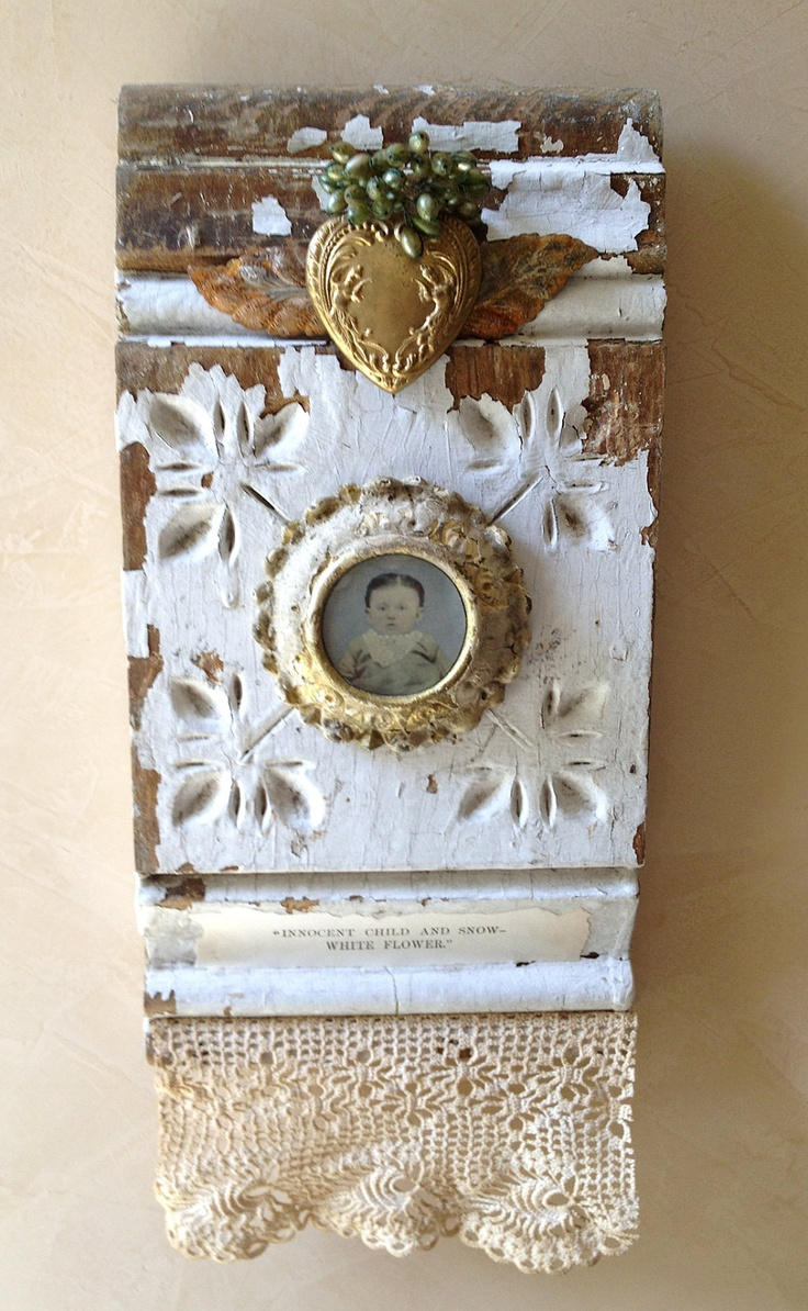 Altered Assemblage Mixed Media Wall Hanging Block - INNOCENT CHILD Snow White Flower. $89.95, via Etsy.