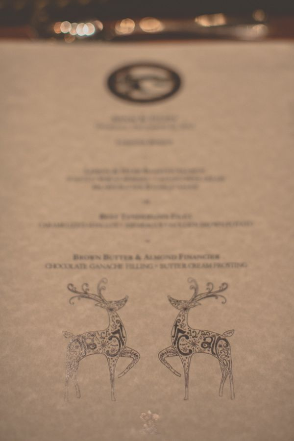 Holiday Wedding Inspiration - Menu Cards with Reindeer Details, Fireplace, Centerpieces & Tablescape Design // Ruffled