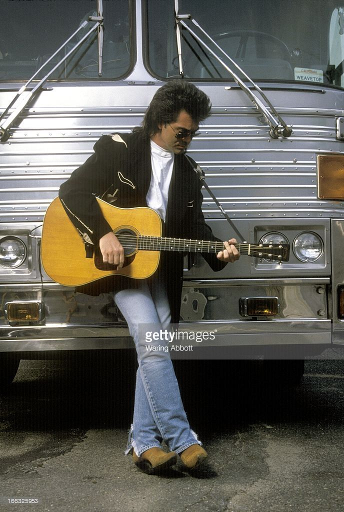 Country singer Marty Stuart by his tour bus at the Westchester Premiere Theater in Tarrytown, New York on June 22, 1992.