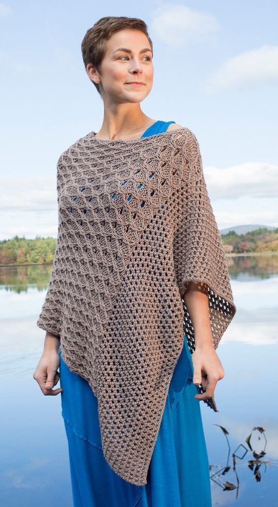 Knitting Pattern for Scarlet Sage Poncho   Knitted poncho ...
