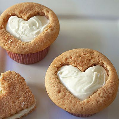 Cookie Heart Cupcakes--> use the cutout hearts to make little cookie sandwiches. Cutout any shape in the cookies (Christmas trees with green frosting, maybe).