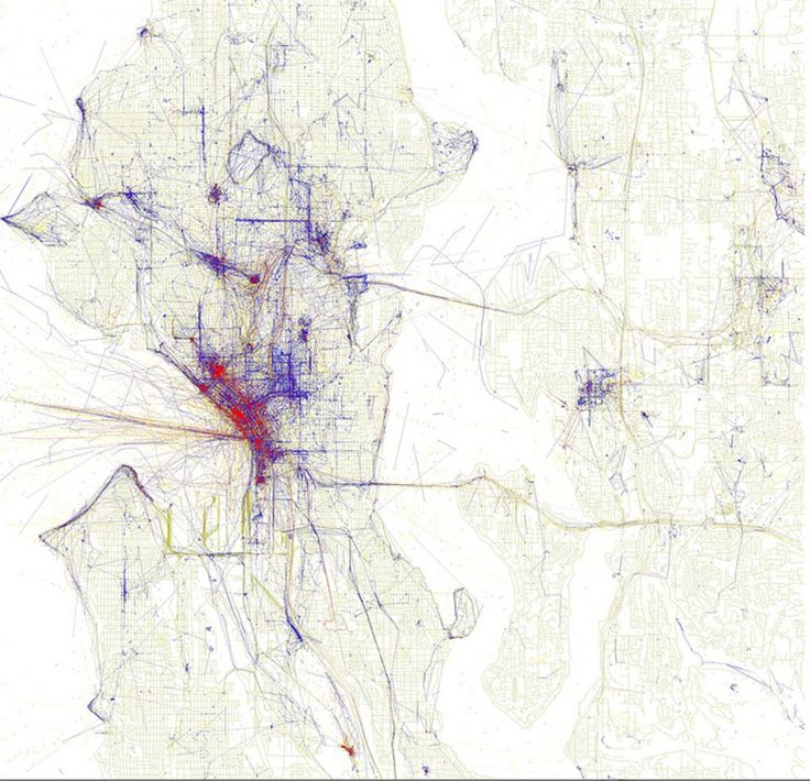 Eric Fischers map of Seattle by photography: blue is for locals, red is for tourists, yellow is for unknown.