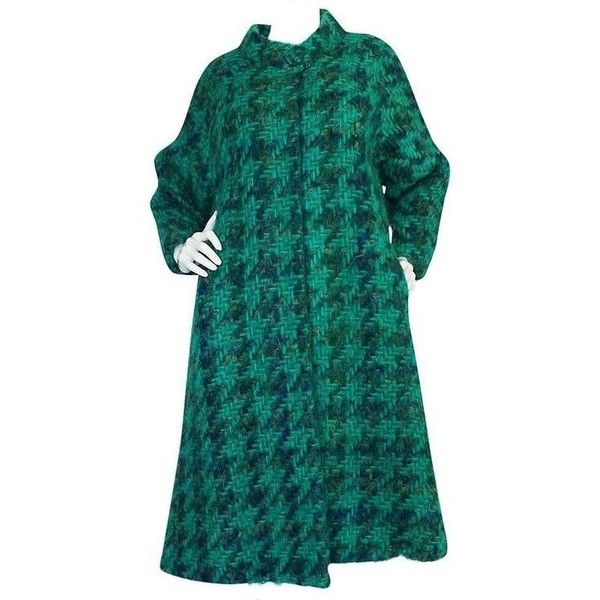 Preowned Fabulous 1960s Sybil Connolly Green Mohair Swing Coat ($925) ❤ liked on Polyvore featuring outerwear, coats, green, checked coat, mohair coat, herringbone coats, blue swing coat and swing coat