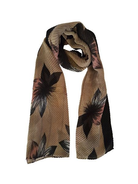 Brown Elegant Floral Pleated Scarf