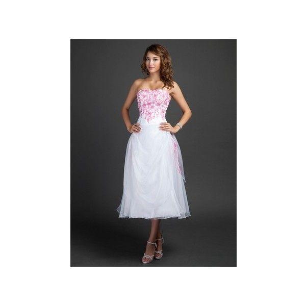 White A Line Sweetheart Tea Length Princess Organza Homecoming Dress... ($129) via Polyvore featuring dresses, a line tea length dress, ruffle dress, white day dress, a-line dresses and white tea length dress
