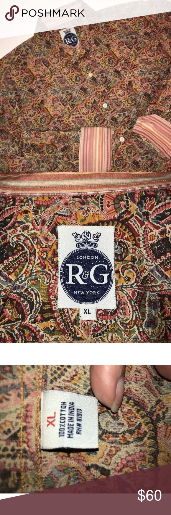 """Robert Graham R & G London New York Shirt XL Robert Graham R & G London New York Shirt Long Sleeve  Button Down  Size XL  Abstract Paisley Red Blue Green Yellow  Stripped Cuffs and Inside Collar 100% Cotton Measurements Neck 17"""" Chest 50"""" Arm Length 26"""" Length 32"""" Excellent condition! Just dry cleaned! Robert Graham Shirts Dress Shirts"""