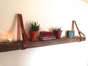 mensola da parete in legno massello cinta cuoio