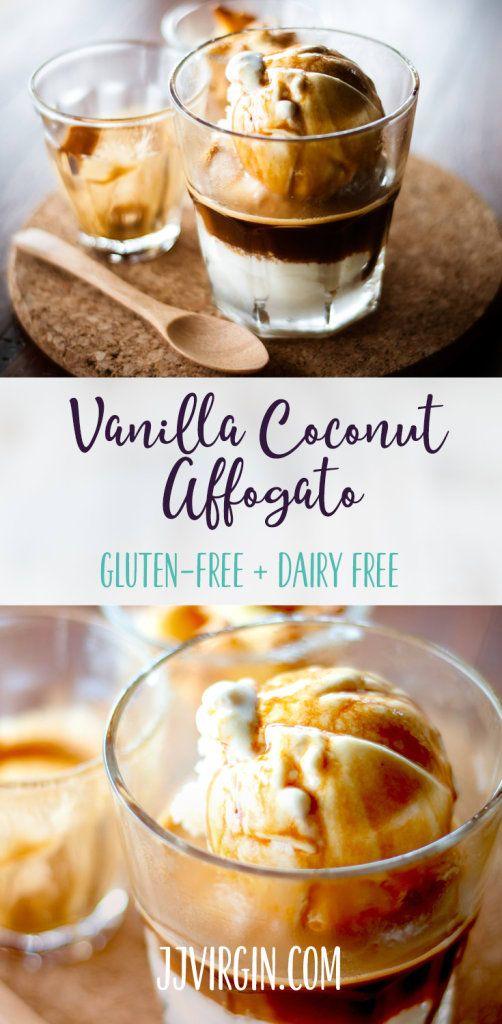 This dairy-free affogato recipe is heaven in a mug: hot vanilla protein espresso poured over creamy coconut ice cream. It's healthy and so dreamy. Get this gluten free, dairy free, healthy protein shake recipe now...