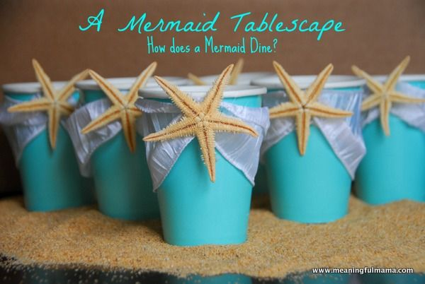 Mermaid Party Table Decorations I like the napkkin holders and the fish bowls idea from this site