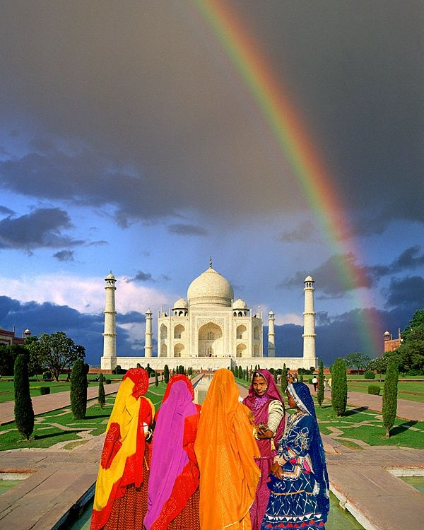 Dancers in front of the Taj Mahal, Agra, India by Jim Zuckerman Rainbow and Blue Skies
