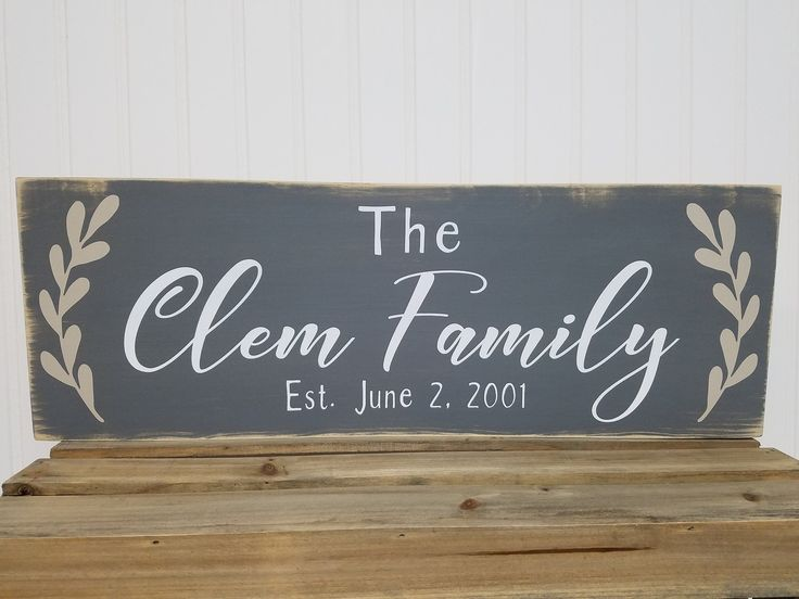 Farmhouse Style Family Name Sign - Distressed - Customized with Family Name and Wedding Date - 7.25x22 in size and Colors of Your Choice