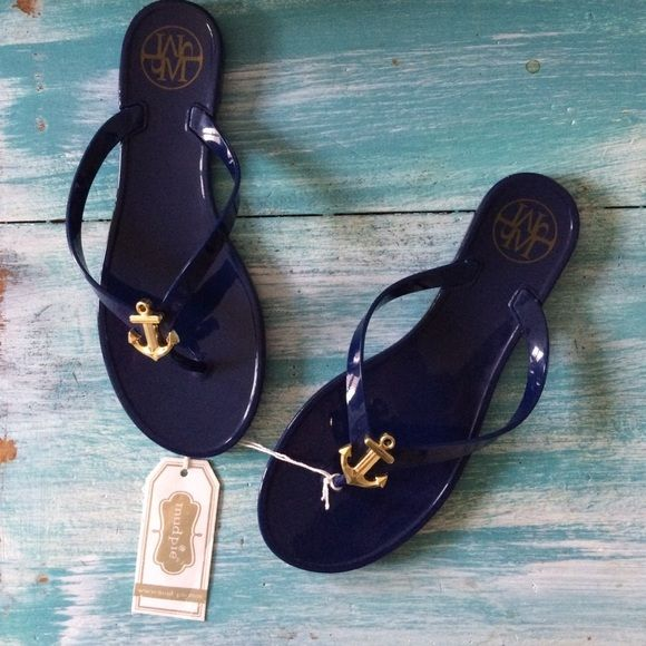 Navy Flip Flops with Gold Anchor Nautical jelly flip flops Mud pie Shoes Sandals