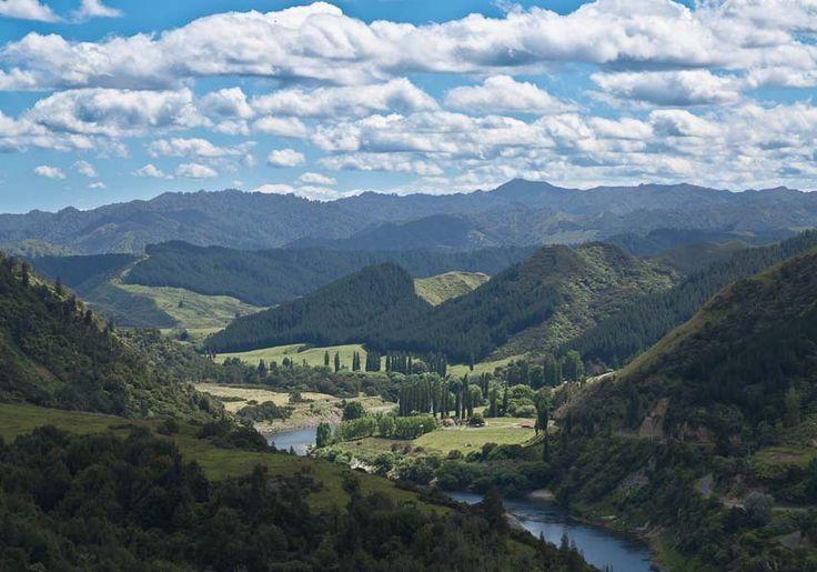 Řeka Whanganui z vyhlídky Aramoana, Nový Zéland