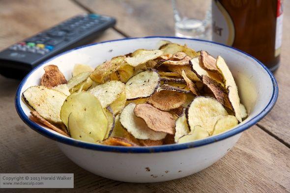Homemade organic potato chips