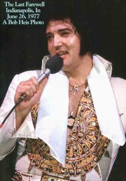 "Elvis in Indianapolis, June 26, 1977. His last concert. Elvis Presley will forever be ""The King of Rock and Roll"". Gone but Not Forgotten!!!"