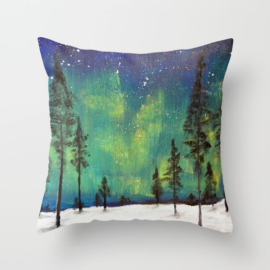 Northern Lights - Acrylic painting by Ruth Oosterman turned into a comfy cushion
