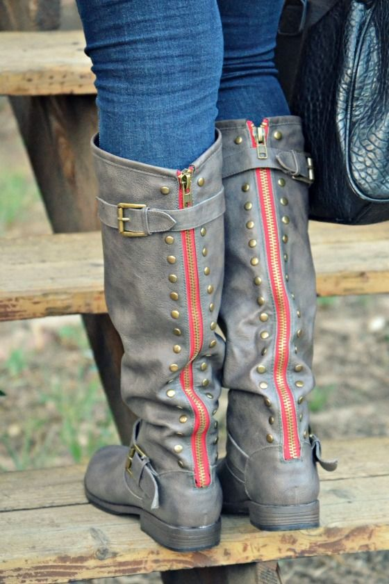 taupe boots with gold studs and red zipper