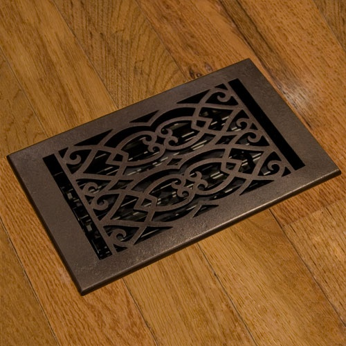 Oversized Victorian Bronze Floor Register With Louvers