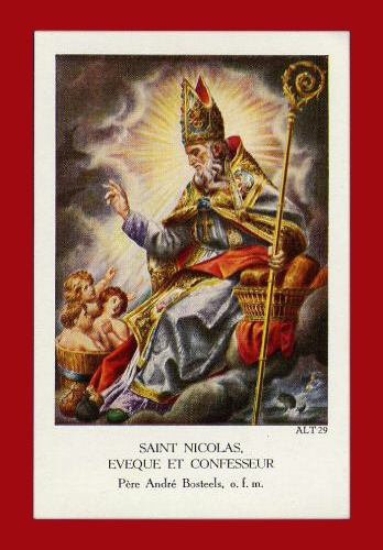 Saint Nicholas feast day December 6, pray for us.  Card available for personal use only.