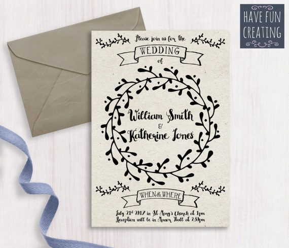 Wedding Invitation: Swirls  Print at home by havefuncreating