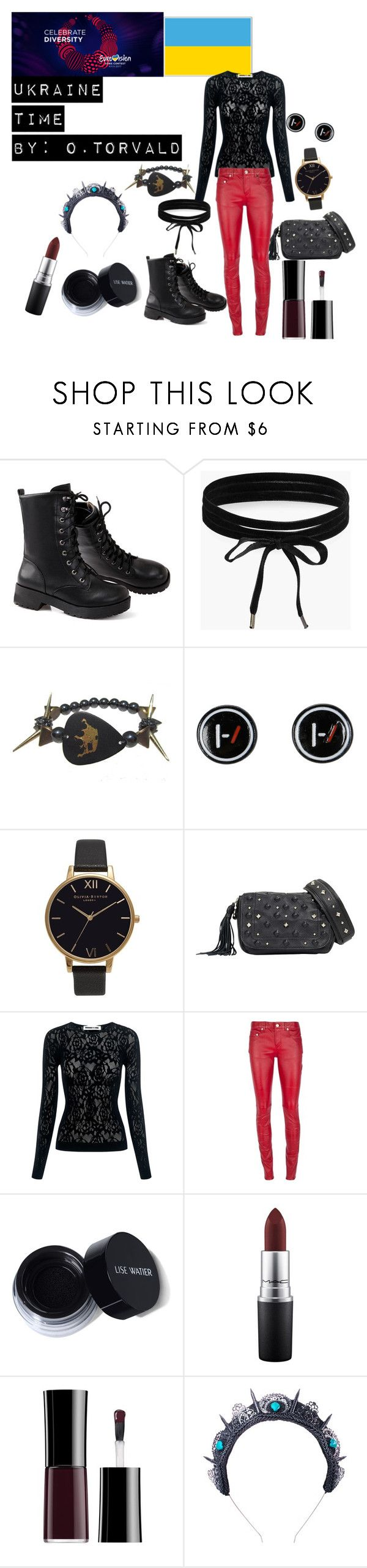 """Ukraine Eurovision 2017"" by grace-buerklin ❤ liked on Polyvore featuring Boohoo, Electric Picks, Hot Topic, Olivia Burton, McQ by Alexander McQueen, Yves Saint Laurent, MAC Cosmetics, Loschy Designs and eurovision2017"
