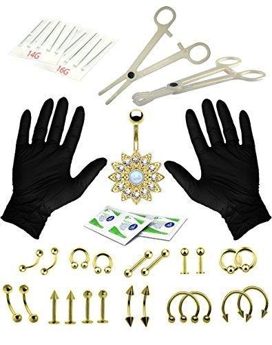 BodyJ4You Body Piercing Kit Professional Set Goldtone Tongue Tragus Ear Eyebrow Nipple Jewelry 35 Pieces