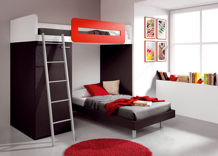Accecories And Furniture,Appealing Cool Teenage Bedroom Ideas For Boys With  Modern Bunk Bed And Window Book Shelf Feat Red Color Fur Rug  Area,Captivating ...