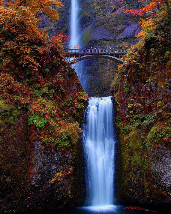 CATARATAS DE MULTNOMAH FALLS,  en Oregon,  Estados Unidos .Desembocan en el rìo Columbia y son consideradas una de las màs altas en USA,