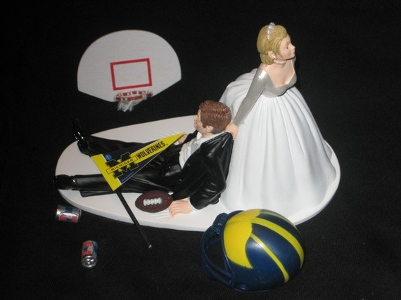 Michigan Wolverines Basketball and Football wedding by finsnhorns