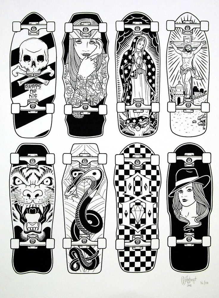 Mike Giant, Design Art, Mike Du0027antoni, Digital Art, Rebel 8, Black White,  Skateboard Decks, To The End, Chicano