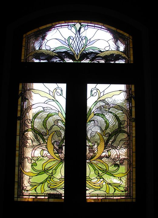 Art nouveau entryway doors and transom stained glass for Art glass windows and doors