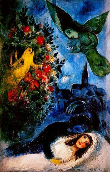 the colors in marc chagalls paintings After marc chagall moved to paris from russia in 1910, his paintings quickly came to reflect the latest avant-garde styles in paris through the window, chagall's debt to the orphic cubism of his colleague robert delaunay is clear in the semitransparent overlapping planes of vivid color in the sky above the city.