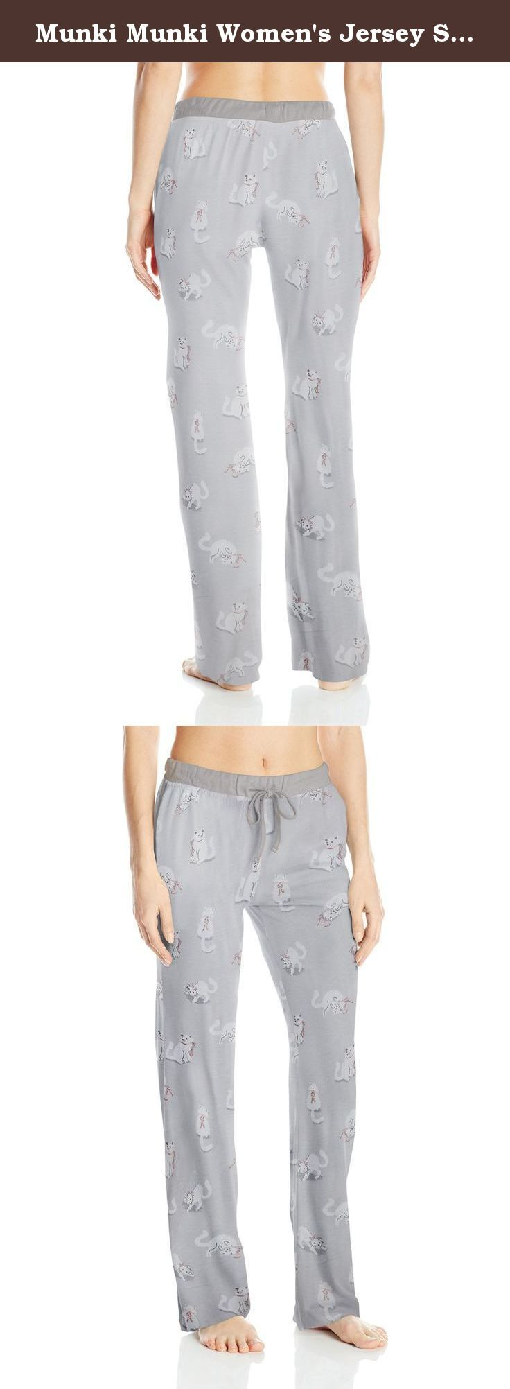 Munki Munki Women's Jersey Slim Pj Pants with Rib Waistband, Grey Cats, XX-Large. Luxurious jersey pants with a whimsical print. Pants have an elastic waistband with a rib knit drawstring and side pockets.