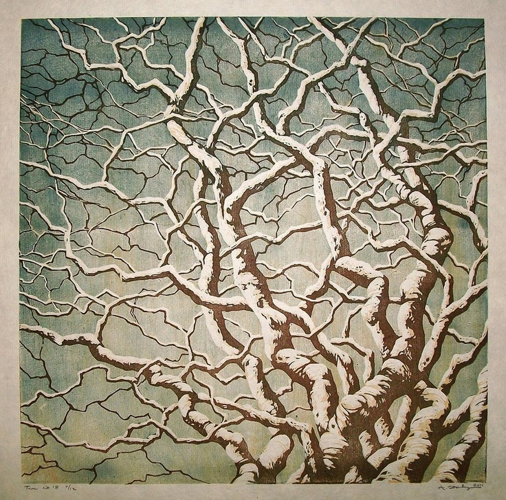 """tree no reduction linocut by andrea starkey http"