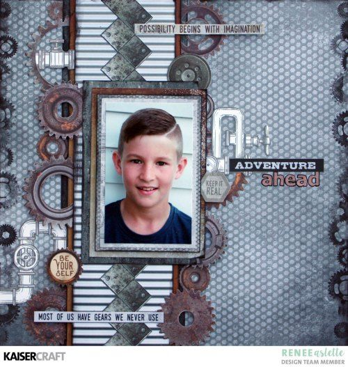 'Adventure Ahead' Layout by Renee Aslette Design Team member Kaisercraft Official Blog featuring August 2017 'Factory 42' collection. Learn more at kaisercraft.com.au/blog - Wendy Schultz - Inspiring Creations.