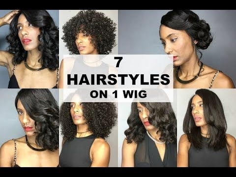 7 Hairstyles On A Curly Brazilian Virgin Lace Front Wig   WowAfrican - YouTube