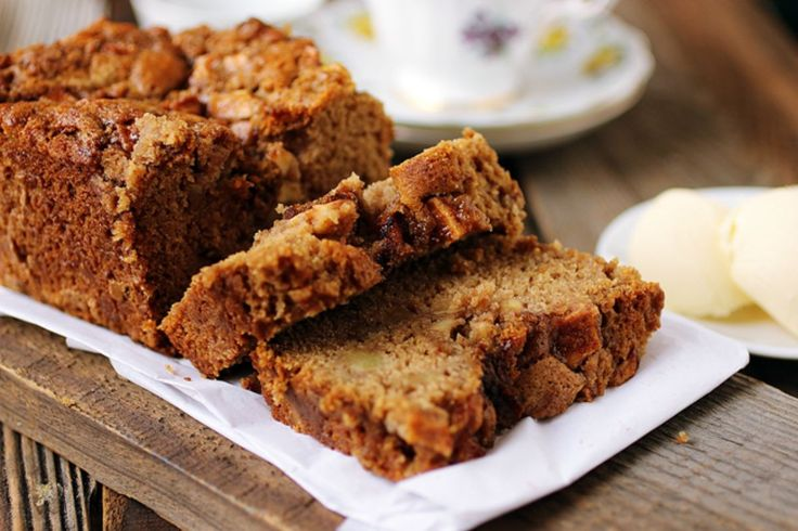 <p>This apple bread is sweet and moist and full of apple goodness.</p>