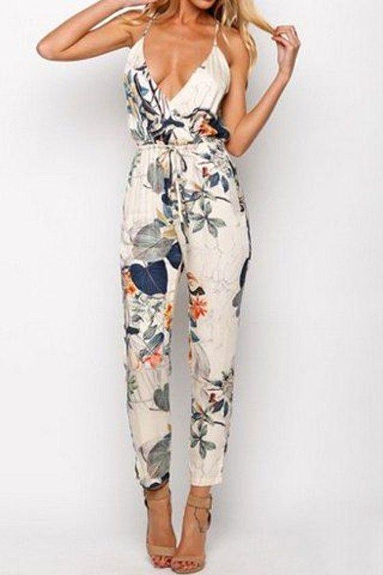 Beige Floral Plunge Drawstring Waist Nine's Jumpsuit