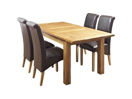 toulouse extending dining table and 4 darcy leather effect