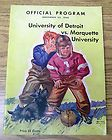 Nov 23, 1940 University of Detroit vs Marquette FOOTBALL GAME PROGRAM - 1940, Detroit, FOOTBALL, Game, Marquette, PROGRAM, UNIVERSITY