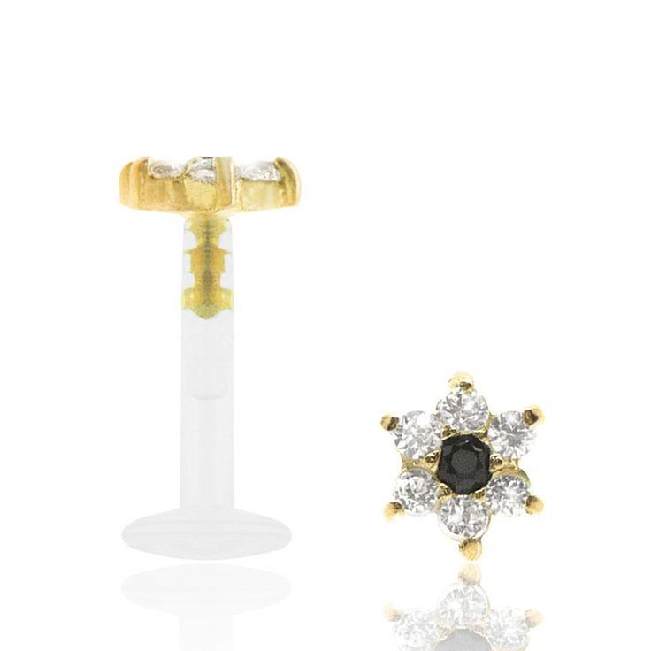 Succès assuré ! Piercing labret or jaune avec fleur incrustée oxydes de zirconium
