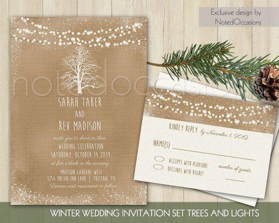 Rustic Winter Wedding Invitation | Printable Tree Wedding | Christmas  Wedding | Kraft Flicker Lights Country
