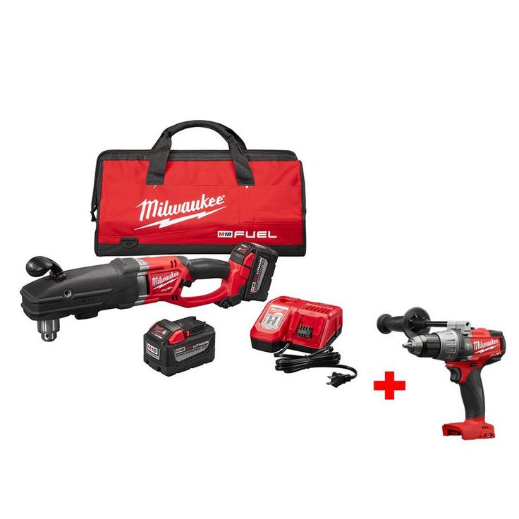 Milwaukee M18 Fuel 18-Volt Lithium-Ion Super Hawg 1/2 in. Right Angle Drill High Demand Kit Free M18 Fuel 1/2 in. Hammer Drill