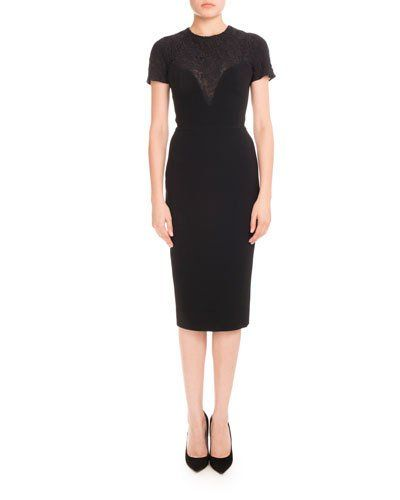 TQA95 Victoria Beckham Short-Sleeve Lace-Yoke Dress, Black