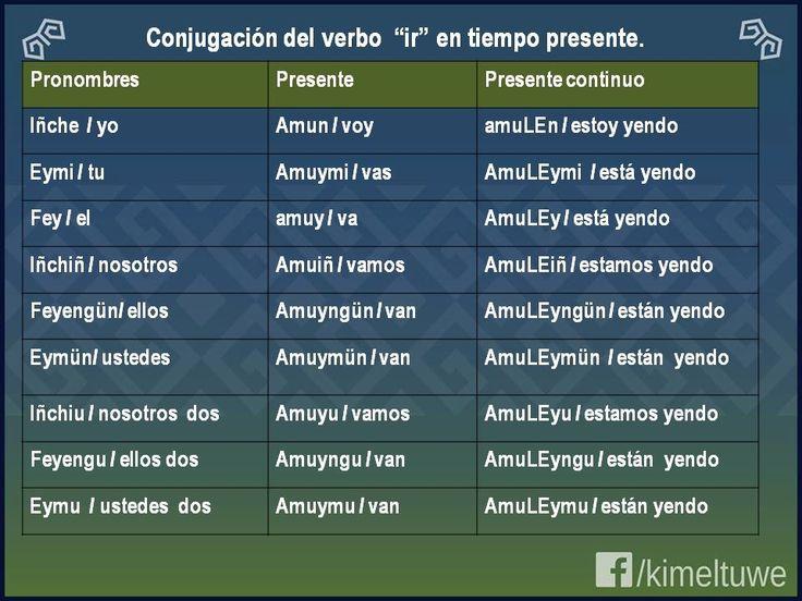 Configuración del verbo ir en tiempo presente - en Lengua mapudungun