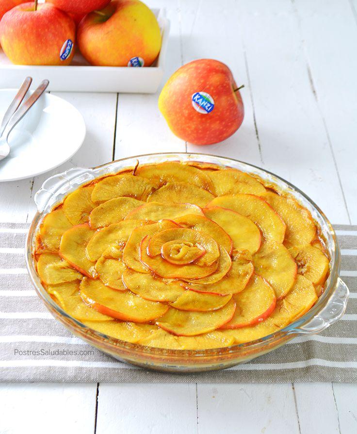 Postres Saludables | Cheesecake de Manzana y Caramelo SALUDABLE | http://www.postressaludables.com