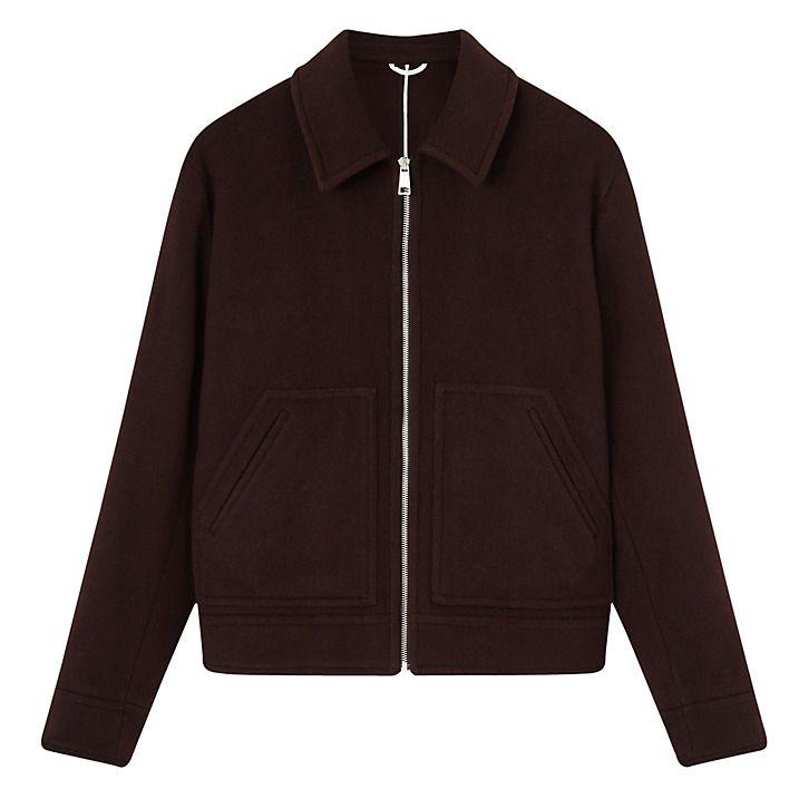 Buy Jigsaw Wool Cashmere Blend Underlined Bomber, Espresso, S Online at johnlewis.com